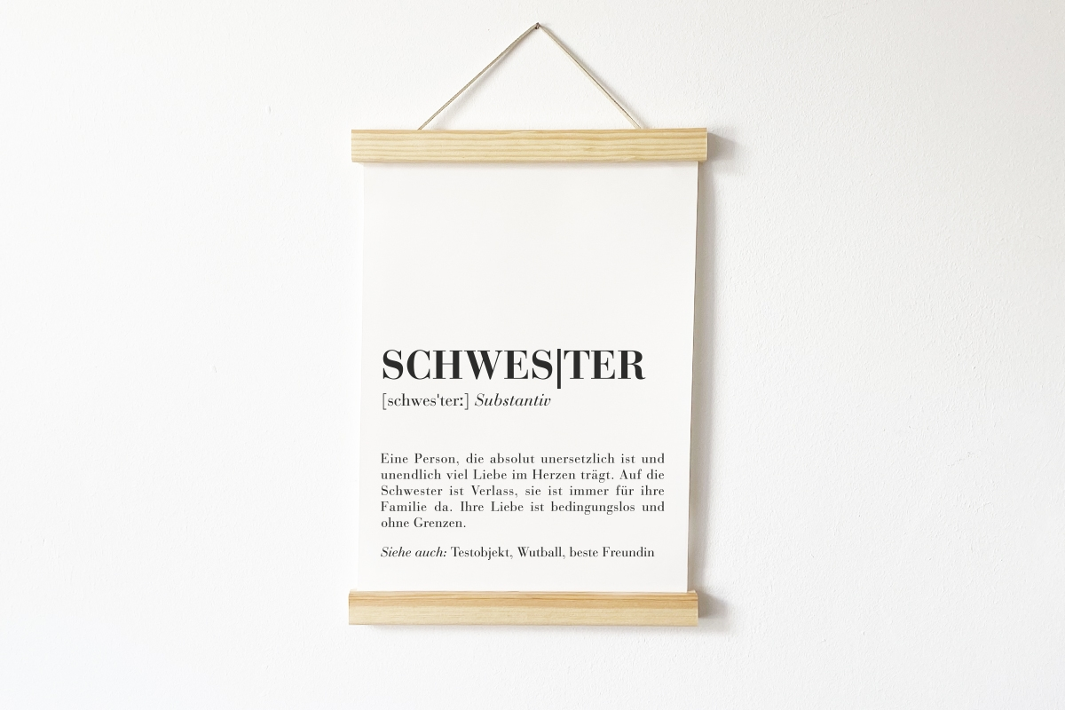 « DEFINITION SCHWESTER! »  Poster mit individuellem Text